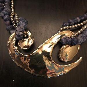 Vintage Necklace with Brass Medallion